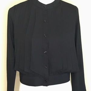Nasty Gal (IVIVI) Black Pleated Waist Blouse Sz S